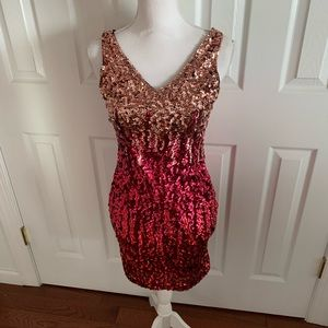 Red ombré sequin dress - NWT